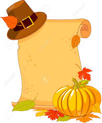 thanksgiving day images thanksgiving day scroll with pilgrim hat and pumpkin royalty free