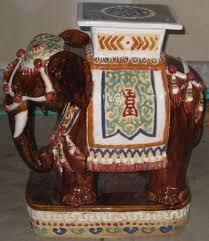 vintage hollywood regency ceramic elephant garden seat plant stand