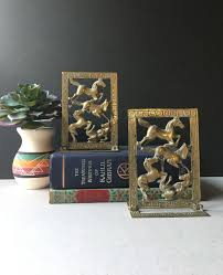folding brass horse bookends leaping horse vintage brass