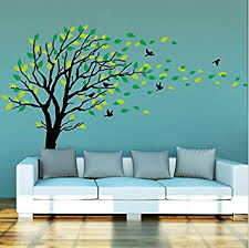 Tree Wall Decal For Nursery Large And Green Tree Blowing In The Wind Tree