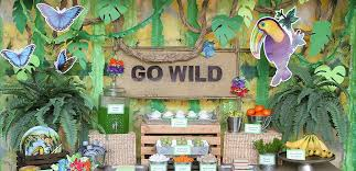 jungle theme decorations jungle party ideas animal party ideas at birthday in a box