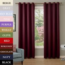 solid antique bronze grommet polyester drapes burgundy blackout