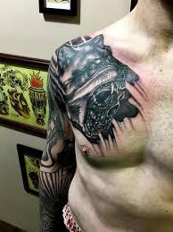 deft studio tattoos wolf skull coverup