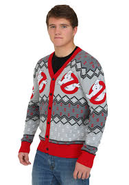 mens ghostbusters cardigan sweater