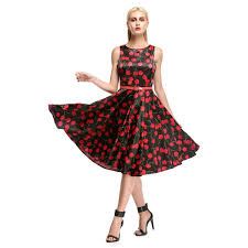 wholesale women 1950s cherry vintage sleeveless with belt ball
