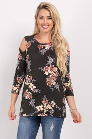 cold shoulder tops olive floral sleeve cold shoulder maternity top