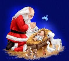 santa kneeling at the manger santa s christmas prayer a christmas poem from the seasonal