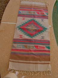 Zapotec Rug Paintings Vintage Zapotec Mexican Rug Coral Teal Golden Brown Rug