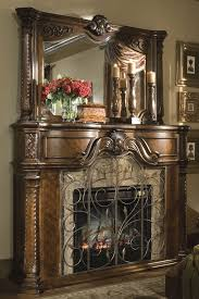 antique fireplace mantel brown wood carved columns from rhode