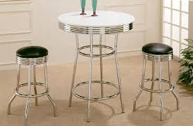 Retro Bar Table 30 White Retro Chrome Bar Table W Black Bar Stools