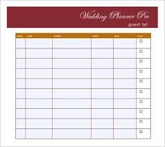 Wedding Guest List Excel Template Sle Guest List Sle Guest List Free Wedding Planning