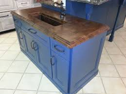 blue kitchen island with butcher block top oversized greige