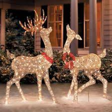 front yard sculptures set of 2 lighted reindeer doe buck