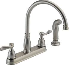 Brushed Nickel Kitchen Faucet Kitchen Design Best 2 Holes Kitchen Faucet With Double Sinks On