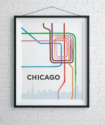 L Chicago Map by Chicago L Train Map Print Chicago Loop Wall Art