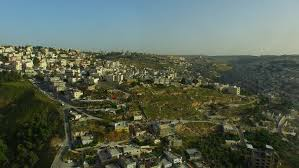 country towns jerusalem region israel circa march 2015 aerial of small towns