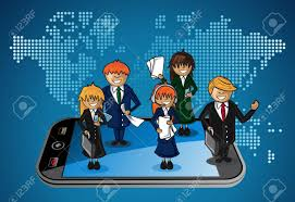 World Map App by Smart Phone World Map Business Application People Teamwork Cartoon