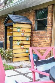 Backyard Garbage Cans by Home Project Diy Trash Can Shed For Curb Appeal Within The Grove
