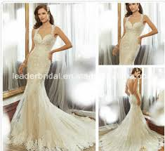 china champagne wedding dress custom mermaid lace backless bridal