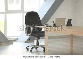 Laptop Chair Desk Wooden Table Laptop Chair Office Stock Photo 707877898