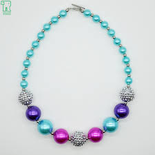 aliexpress bead necklace images Girls chunky beaded necklace sky blue and silver kids bubblegum jpg