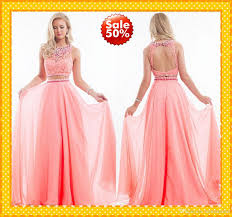 latest coral two piece prom dresses chiffon crew collar lace