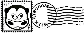 evil cow mail stamp mark black white line art coloring sheet