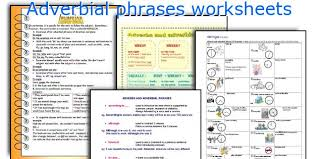 adjective and adverb phrases worksheet worksheets