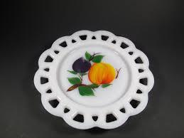 vintage fireking lace edge milk glass plate fad fruit home
