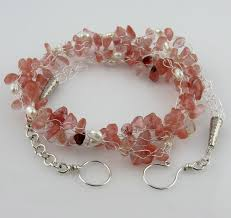 silver wire necklace images White cloud creations strawberry quartz pearl silver wire crochet jpg