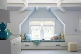 attic window seat transitional bedroom