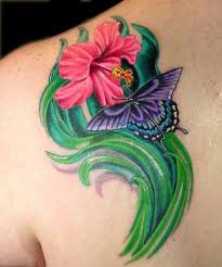aaron goolsby tattoos flower hibiscus flower and butterfly