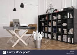 work table or design workbench in an office interior with a large