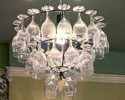 Chandelier For Home Furniture Fascinating Wine Glass Chandelier Diy With Cream Wall