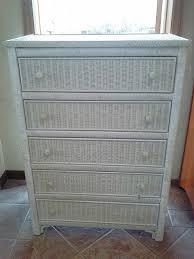Chest Of Drawers With Wicker Drawers Plain White Wicker Dresser 5 Drawer 1 Door Chest Elana E Inside