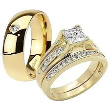 wedding rings his and hers his 14k g p stainless steel 3pc wedding engagement ring