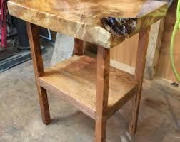 Wood Slab End Table by Slab Wood Shelf Etsy