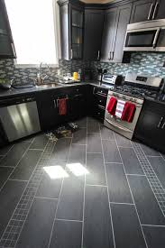 diagonal gray floor tile detail contemporary kitchen