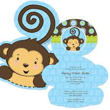 blue monkey boy shaped baby shower invitations