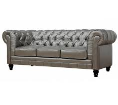 Chesterfields Sofa by Zahara Tufted Silver Leather Chesterfield Sofa Zin Home