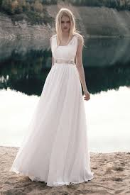 summer wedding dress a line sleeveless chiffon lace summer wedding dress