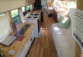 Harvester Oak Laminate Flooring Tiny Home Bus Conversion Construction Interior 2 Inhabitat