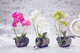 artificial orchid flowers plants in pot home decor garden fuchsia