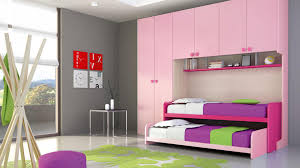 winsome girls bedroom decoration with double bed under pink