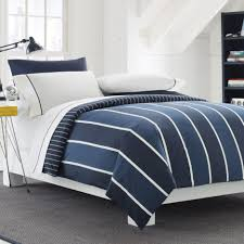 Blue White Striped Rug Interior Navy Blue And White Striped Comforter Set On White Wood