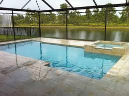 enchanting grey cement pavers around rectangular pool with black