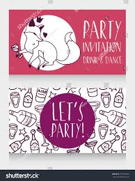 birthday drink wine party invitation cute doodle fox drinking stock vector 597259349