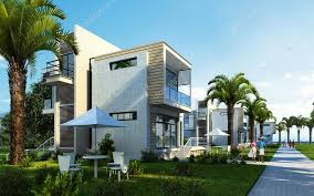modern building exterior with garden palms and trees stock