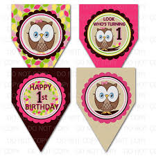 printable diy owl first birthday theme decorative pennants or