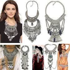 silver fashion statement necklace images Buy women bohemian vintage multilayer gypsy maxi jpg